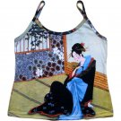 MERRY GEISHA Japanese Ukiyoe Art Print Tank Top L Large