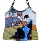 Japanese MERRY GEISHA Ukiyoe Art Print Tank Top Misses S Small
