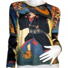 KABUKI Japanese Ukiyoe Japan Art Print LONG Sleeve T Shirt Misses Size M Medium