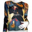 KABUKI Japanese Ukiyoe Japan Art Print LONG Sleeve T Shirt Misses Size XL