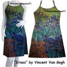 Vincent Van Gogh IRISES Hand Print Fine Art Dress Misses Size L 12-14