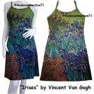 Vincent Van Gogh IRISES Hand Print Fine Art Tank DRESS Misses Size S Small 4-6
