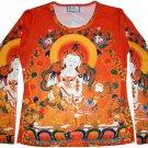 GUANIM Buddhist Goddess of Mercy LONG SLEEVE Hindu Art Print T Shirt Misses XL