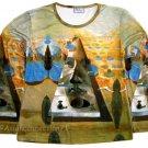 PYRAMID of FORTUNE Shirt SALVADOR DALI Long Sleeve Fine Art Print Blouse Misses XL