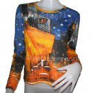 Van Gogh CAFE TERRACE At NIGHT LONG SLEEVE Art Print T Shirt Misses M Medium