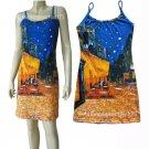 Van Gogh CAFE TERRACE Hand Printed Art Tank Dress Misses XL Size 16-18
