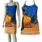 Van Gogh CAFE TERRACE Hand Printed Art Tank Dress Misses S Small Size 4-6