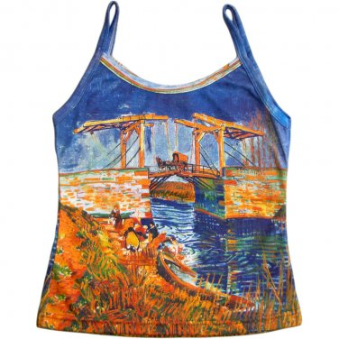 VAN GOGH Langlois Bridge at Arles Fine Art Print Shirt Singlet TANK TOP Misses Size S Small