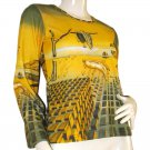 DISINTEGRATION OF MEMORY Dali Long Sleeve Art Print T Shirt Misses Size M Medium