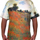 Monet Poppies at Argenteuil French Impressionist Fine Art Print T Shirt MENS Short Sleeve XL