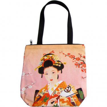 Sensu Geisha Japanese Art Print Bag Sling Purse Messenger Tote S Small