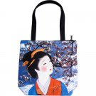 WINTER SNOW GEISHA Japanese Art Print Bag Sling Purse Tote S Small