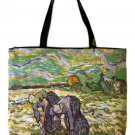 VAN GOGH Peasant Women In Snow Hand Print Art Bag Purse Messenger Tote L Large