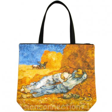 Van Gogh LA SIESTE Hand Print Art Bag Purse Tote Messenger L Large