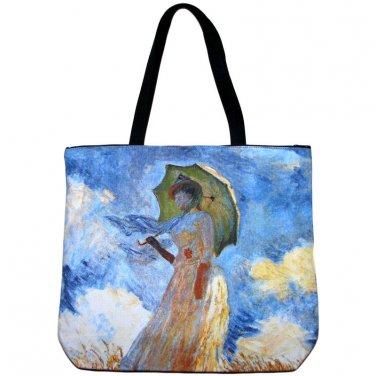 WOMAN with PARASOL Claude MONET Fine Art Print Bag Purse Tote Messenger LARGE