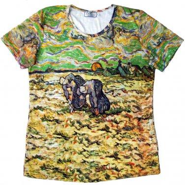 PEASANT WOMEN DIGGING IN SNOW Van Gogh Art Print T-shirt Misses XXL 2XL