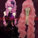 Vocaloid megurine Luka pink curly cosplay wig