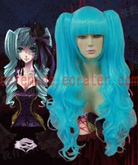 Vocaloid Hatsune Miku blue curly cosplay wig