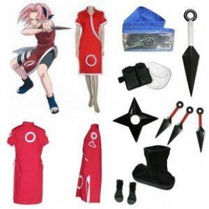 Naruto Haruno Sakura Cosplay Costume and accessories
