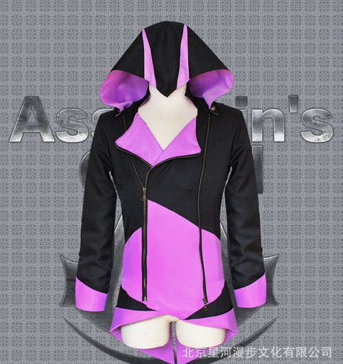 Assassin's Creed III Cosplay Connor Costume Pink and Black Coat