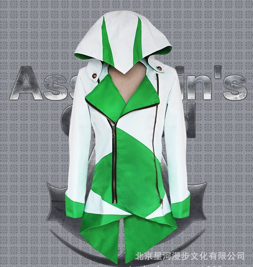 Assassin's Creed III Cosplay Connor Costume Green And White Coat