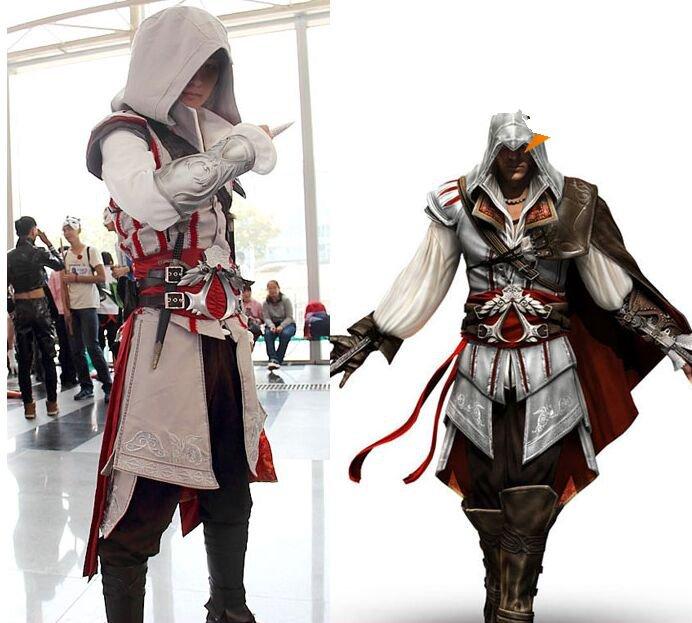 Assassin's Creed III Cosplay Ezio Auditore da Firenze Black and white Costume