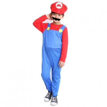 Super Mario Bros Mario Child's Red Cosplay Costume