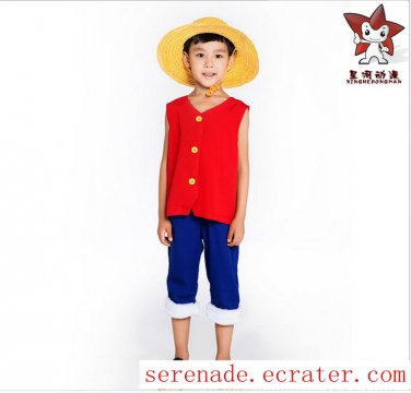 ONE PIECE Monkey D Luffy First Child's Cosplay Costume And Hat