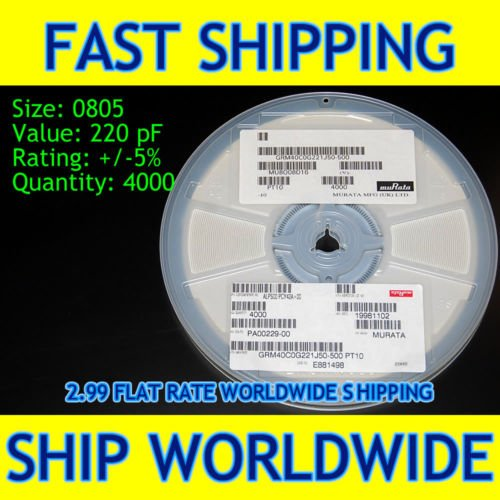 NEED A FEW, BUY A REEL - 0805 SMT SMD 220 pF capacitor