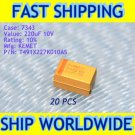20 PCS 220uF +/- 10% 10V TANTALUM CAPACITOR KEMET T491X227K010AS CASE 7343