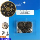 6/PKG 17mm Bachelor Stars Brass Jean Buttons