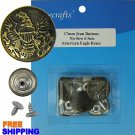 6/PKG 17mm American Eagle Brass Jean Buttons