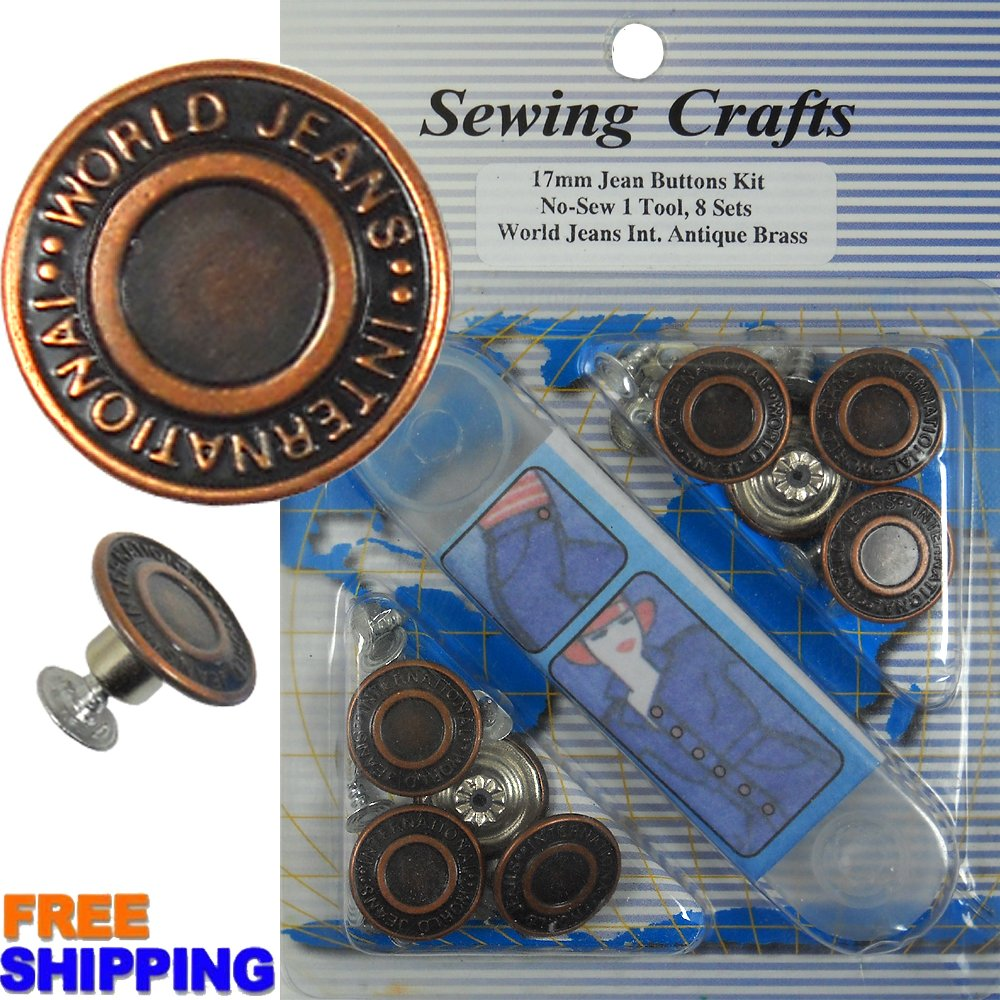 17mm World Jeans Int. Copper Jean Buttons 8 Set with Tool