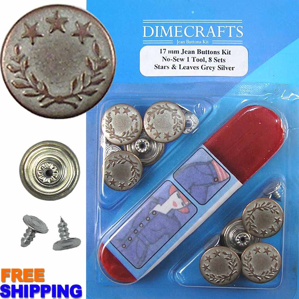 17mm Stars And Leaves Grey Silver 8 Set with Tool