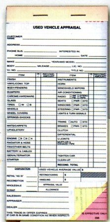 USED VEHICLE APPRAISAL BOOK Form #299 Item #8335