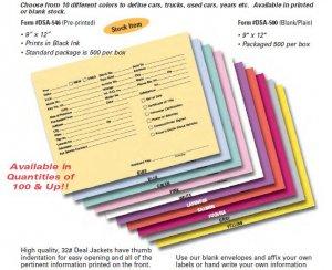 Vehicle Deal Jacket Envelopes