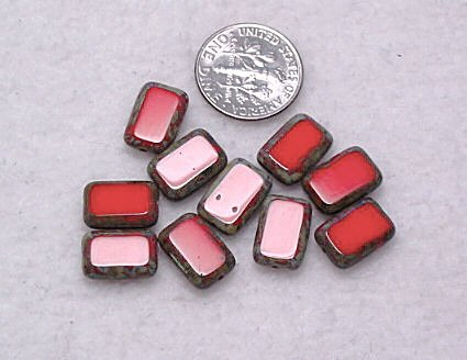 Czech Glass Table Cut Beads Opaque Red 10 Rectangle