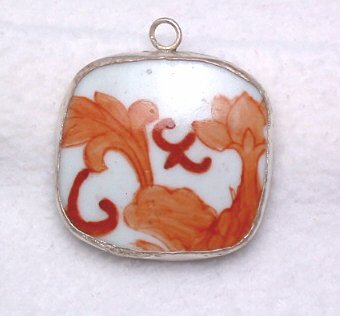 Antique China Pottery Shard Pendant ~abstract orange~