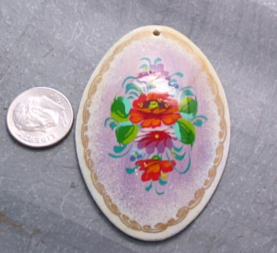 Hand Painted Floral Pendant