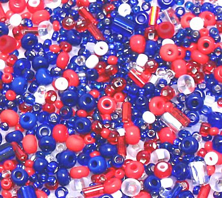 Red White & Blue Seed & Czech Glass Bead Mix
