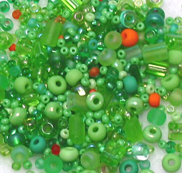 "Green Citrus Glass Seed Bead Mix 6"" Tube"