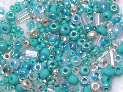 "Turquoise Aqua Glass Seed Bead Mix 6"" Tube"