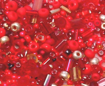 "Red and Gold Glass Seed Bead Mix 6"" Tube"