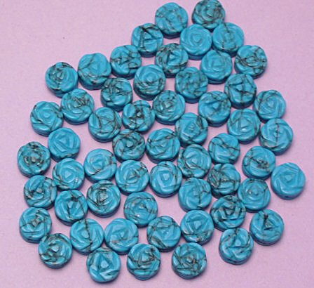 Turquoise Gemstone Carved Flat Rose Beads 6