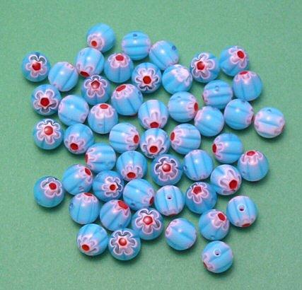 Aqua Blue Millefiori Round glass beads 8mm strand 50+