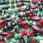 Czech glass sultry mixed beads red pewter bronze
