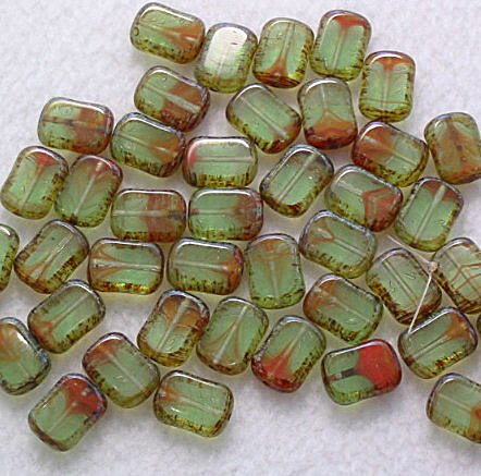 Peridot Picasso Czech Glass Table Cut Rectangle Beads 10