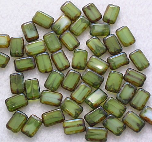 Green Picasso Czech Glass Rectangle Table Cut Window Beads