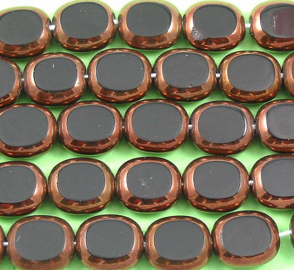 Oval Black and bronze Czech glass window beads