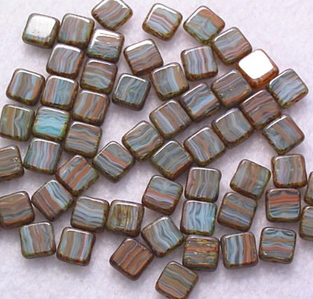 Orange and Sapphire Czech Glass Table Cut Square Beads 10